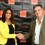 1. Principal. Mirna Eusebio Lithgow, Directora de Mercadeo Negocios de Orange y Michael Espino, CEO Vpar.